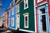 Travel photography:Row of wooden houses in St. John´s Gower street, Canada