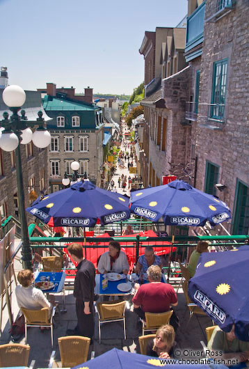 Terraced street cafe in Quebec´s old town (basse ville)
