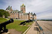 Travel photography:The Château Frontenac castle in Quebec with Terrasse Dufferin promenade, Canada