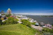 Travel photography:Panoramic view of the Château Frontenac castle in Quebec with Saint Lawrence river, Canada