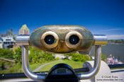 Travel photography:Looking glass near the Château Frontenac castle in Quebec, Canada
