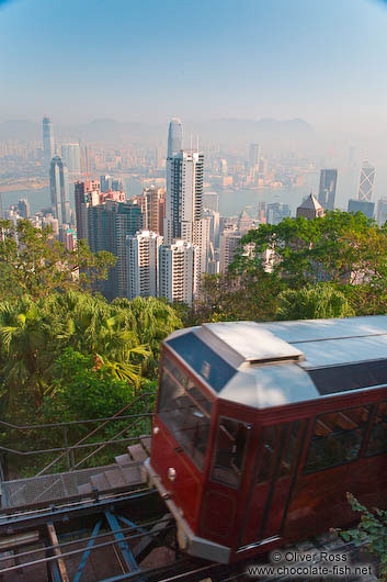 A cable car arrives at ´The Peak´ in Hong Kong