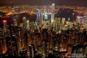 Travel photography:Hong Kong bay and skyline at night , China