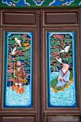 Travel photography:Ornately carved and painted window shutters in Lijiang´s Black Dragon Pool park, China