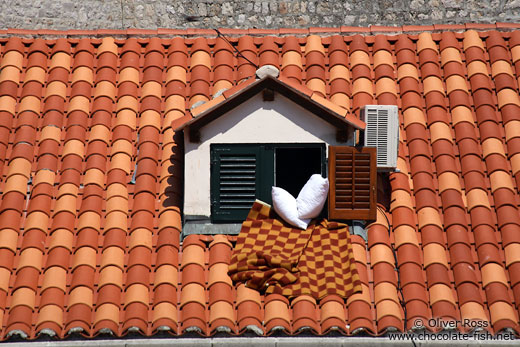 Terracotta roof and window in Dubrovnik