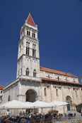 Travel photography:Bell tower of the Katedrala Sveti Lovrijenac (Saint Lawrence Cathedral) in Trogir, Croatia