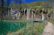 Travel photography:Small lakes with waterfalls in Plitvice National Park, Croatia