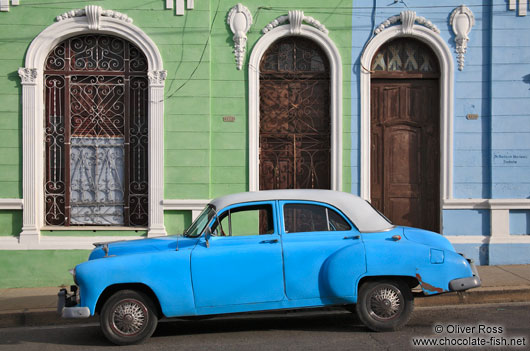 Cienfuegos houses with classic car