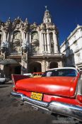 Travel photography:Car outside the Gran Teatro, Cuba