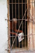 Travel photography:Man reading the newspaper behind bars in Havana Vieja, Cuba