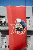 Travel photography:Flag outside Havana university, Cuba
