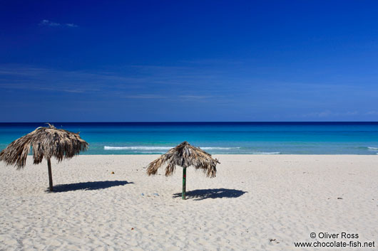 Varadero beach with sun umbrellas