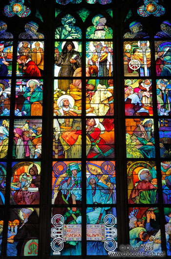 Glass window in the St. Vitus Cathedral by Alfons Mucha