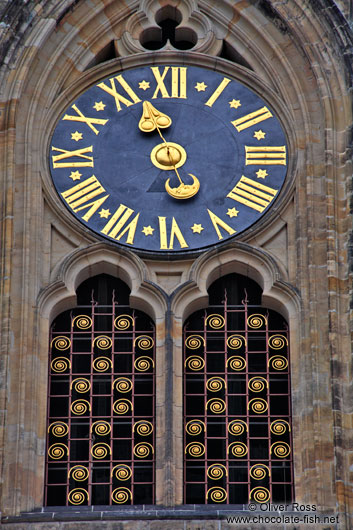 Clock and window at St. Vitus Cathedral