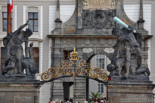 The fighting giants above the main entrance to Prague Castle by artist Ignaz Michael Platzer (1768)