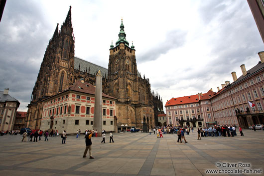 Prague Castle square with St. Vitus Cathedral