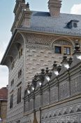 Travel photography:Facade detail of the Schwarzenberg palace in Prague castle, Czech Republic