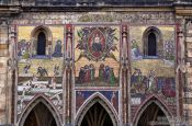 Travel photography:Venetian mosaic above the original main entrance portal (Zlatá brána) to St. Vitus Cathedral, Czech Republic