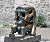 Travel photography:Sculpture at the end of the Golden Alley (Zlatá ulicka), Czech Republic