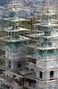 Travel photography:Scaffolding around a church in Petrín, Czech Republic