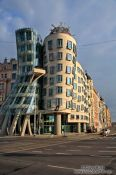 Travel photography:The `Dancing House´ (Tancící dům) by architect Frank Gehry, Czech Republic