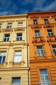 Travel photography:Houses along the Moldau (Vltava) river , Czech Republic
