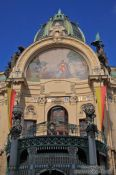 Travel photography:Facade detail of the `Representation House ´ (Obecní dům), Czech Republic