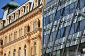 Travel photography:Old-new contrast in Prague`s New Town , Czech Republic