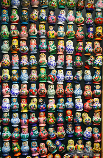 Matryoshka doll fridge magnets for sale in a tourist shop