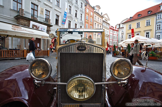 Classic car in Prague`s Old Town