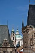 Travel photography:Skyline of Prague`s Lesser Quarter viewed from the Charles bridge, Czech Republic