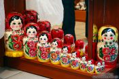 Travel photography:Matryoshka dolls on display in a tourist shop, Czech Republic