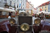 Travel photography:Classic car in Prague`s Old Town, Czech Republic