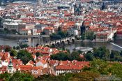 Travel photography:View of Charles bridge and the Moldau (Vltava) river, Czech Republic