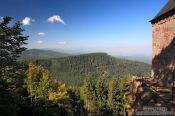 Travel photography:View from the Saint Odile monastery onto the Vosges mountains, France