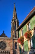 Travel photography:Church and house in Obernai, France
