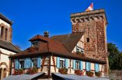 Travel photography:House with old watch tower in Obernai, France