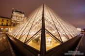 Travel photography:Glass pyramid at the Louvre Museum in Paris, France