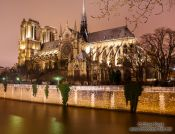 Travel photography:View of Notre Dame cathedral from across the Seine river, France