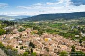 Travel photography:Panorama of the village Moustiers Sainte Marie on the Lac Sainte Croix, France