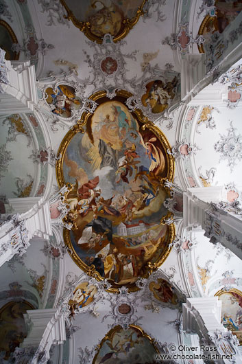 Baroque ceiling of the St. Georg and Jakobus church in Isny