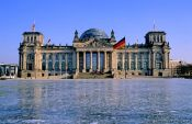 Travel photography:Reichstag form frozen lawn, Germany