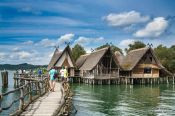 Travel photography:Neolithic stilt houses at the open air museum in Uhldingen, Germany