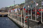 Travel photography:Hamburg Jungfernstieg with Alster, Germany