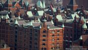 Travel photography:View of Hamburg`s old Speicherstadt (storage warehouses by the harbour), Germany