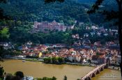 Travel photography:Panoramic view of Heidelberg with its castle and the Neckar River from the philosopher´s path, Germany