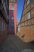 Travel photography:Narrow alley in Lübeck`s old city, Germany