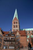 Travel photography:Tower of St. Mary´s church (Marienkirche) in Lübeck, Germany