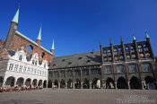 Travel photography:Main square in the city centre of Lübeck, Germany