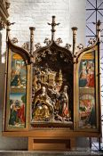 Travel photography:Display in St. Mary´s church (Marienkirche) in Lübeck, Germany